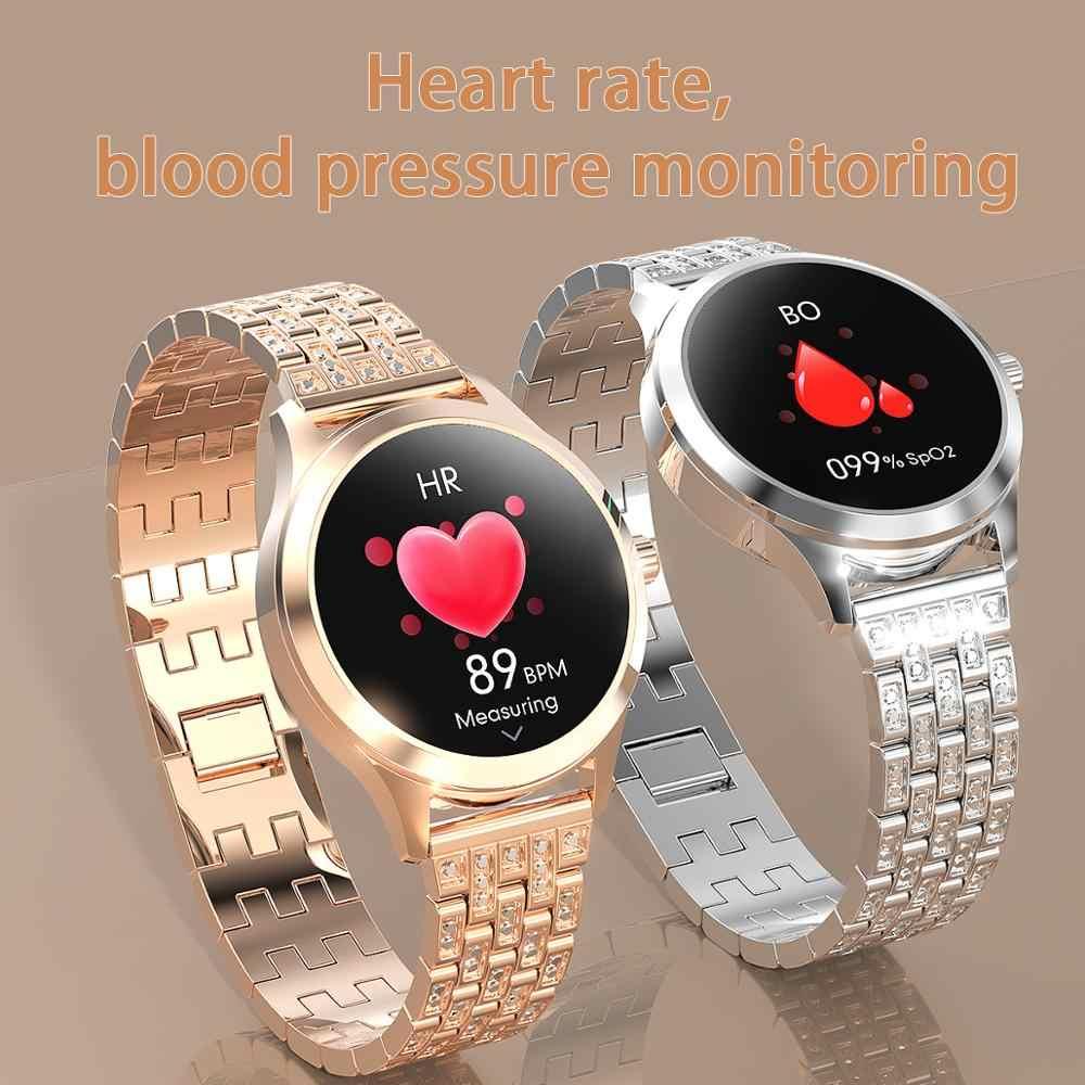 Montre intelligente femmes pour Android IOS LW07 24h moniteur de fréquence cardiaque étanche Bluetooth dame Smartwatch