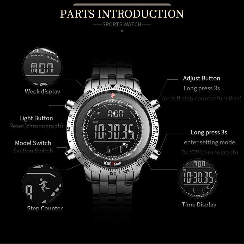 Image 2 - KADEMAN Fashion Step Men Watches Military Sport Watch Luxury TOP Brand Chronograph Wristwatch Casual Male Outdoor Clocks RelogioDigital Watches   -