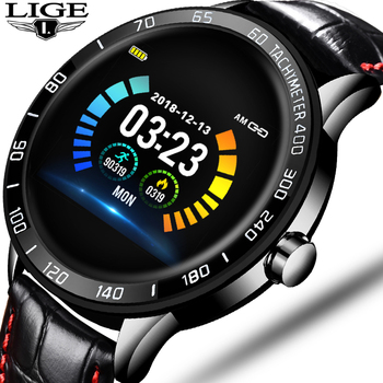 LIGE 2020 New leather waterproof smart watch Men Sport Fitness Heart rate blood pressure tracking smartwatch For iPhone Android 1