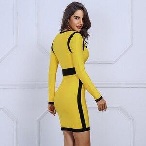 Image 5 - Seamyla 2019 New Women Bandage Dress Vestidos Yellow&Black Mini Night Out Clubwear Sexy Deep V Celebrity Evening Party Dresses