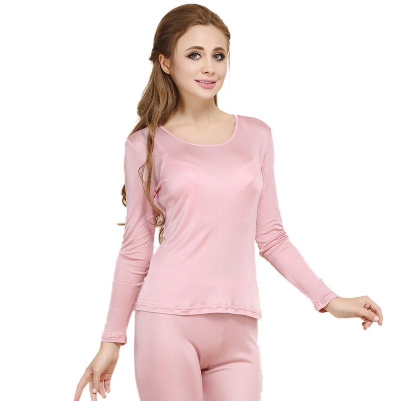 100% Real Silk Women's Long Johns Set Ladies Warm Clothing Femme Thermal Underwear Sets Female Body Suits Women Long Johns