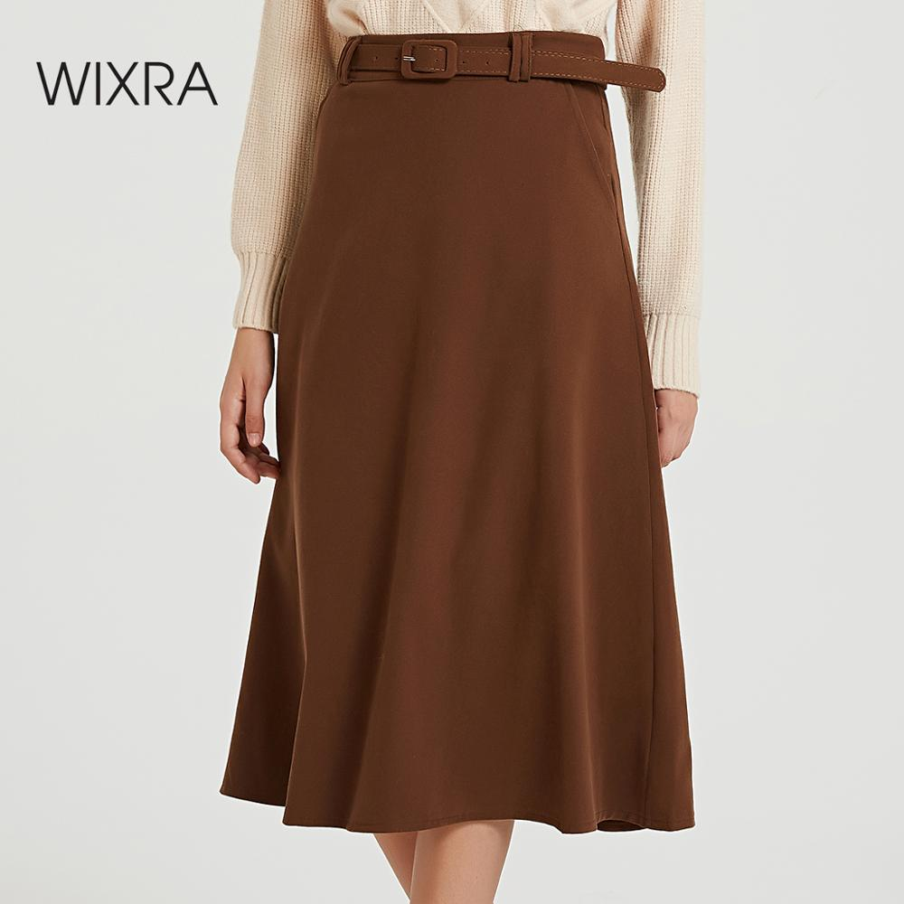 Wixra 2019 New Basic Solid Sashes Skirts Elegant High Waist Loose A Line Skirt Autumn Winter Ladies Bottom