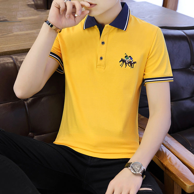 2019 High Quality Big Horse Men's   Polo   Shirts Business Men Brands   Polo   Shirts 3D Embroidery Turn-down Collar Man's   Polo   Shirt
