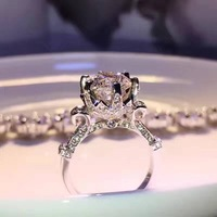 Famous brand jewelry beauty flower ring cubic zirconia cz stone lace rings For Women Wedding engagement jewelry popular style