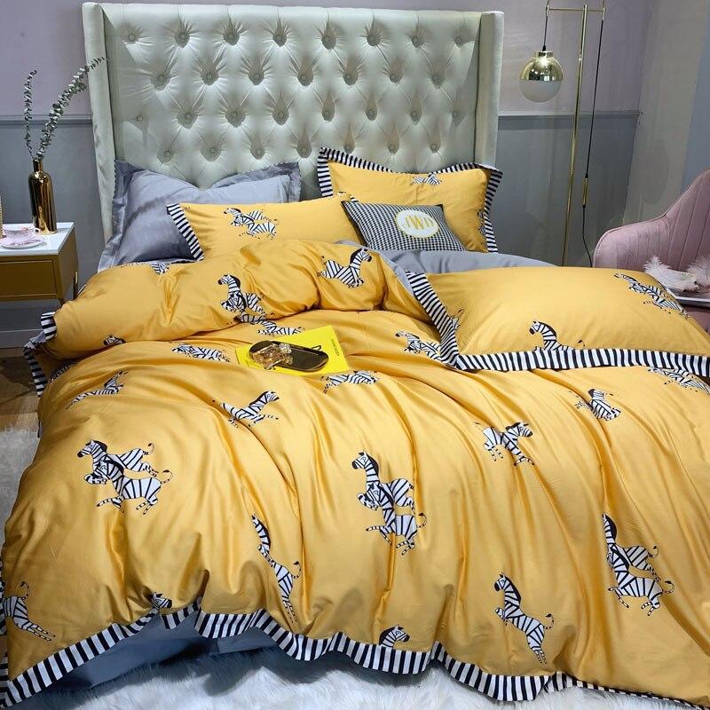 100% puro algodón 2019nuevo juego de ropa de cama de dibujos animados adorable cebra impreso amarillo edredón cubierta de Color sólido gris sábana doble reina rey