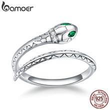 Bamoer Silber Einstellbare Schlange Ring 925 Sterling Silber Vintage Öffnen Größe Finger Ring für Frauen Erklärung Hochzeit Schmuck BSR169