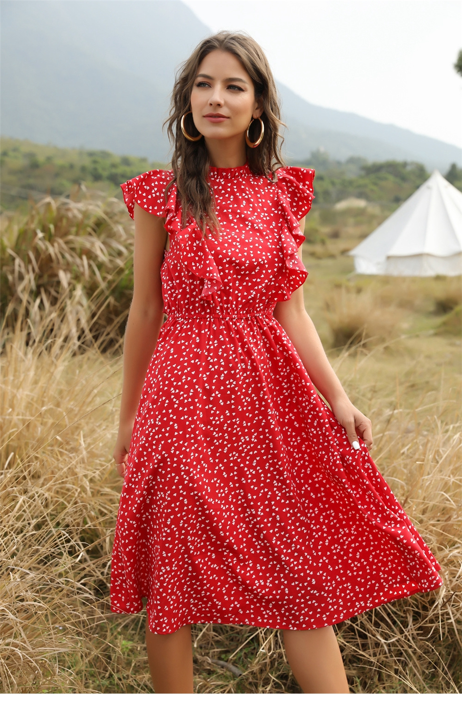 The elegant front view of Women's Casual Butterfly Sleeve Ruffles Chiffon Summer Dress