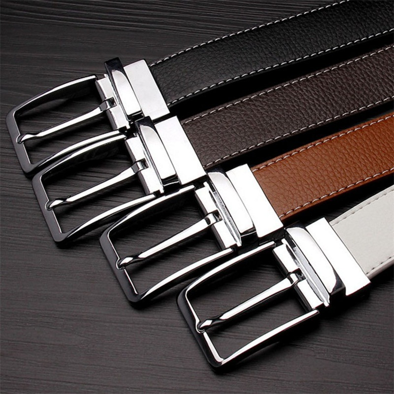Double-sided Cow Reversible Genuine Leather Men Belts DressHigh Quality Buckle Cowskin Casual Belts Business Pin Man Belt