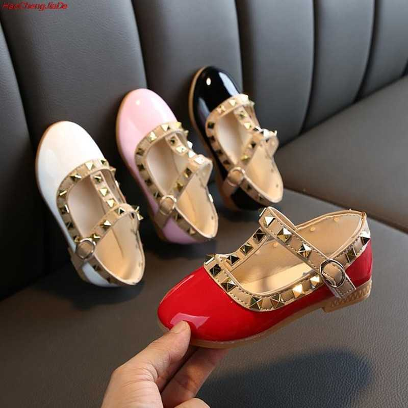 Toddler Baby Girls Shoes For Kids Leather Shoes Flats Rivet T-Strap Roman Gladiator Summer Children Shoe Princess For Girl