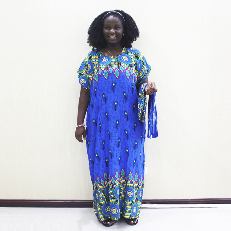Dashikiage Peacock Feather Print Dress African Dashiki Plus Size Short Sleeve Casual Blue Dresses With Sarf