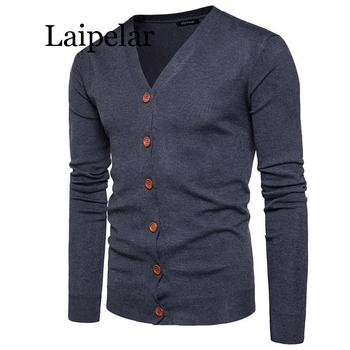 Laipelar Men Button cardigans Sweaters 2019 New Casual Men solid Pullover V Collar Thick Cashmere sweater Outerwear Clothing EU/ button through solid outerwear