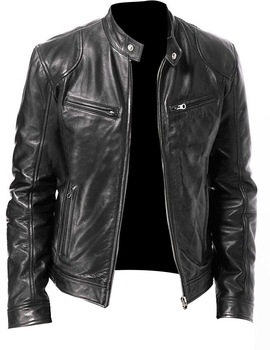 Slim Zipper Leather Jacket 1