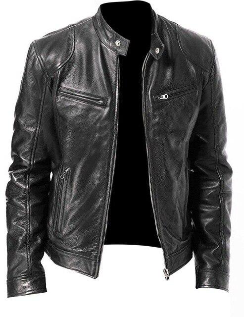 Slim Zipper Leather Jacket 1