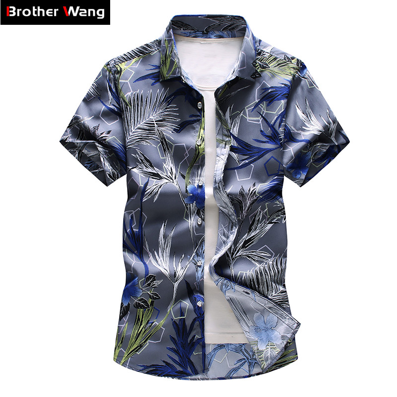 16 Color Men's Floral Shirt 2020 Summer New Fashion Casual Hawaii Printing Short Sleeve Shirt Male Brand Plus Size 5XL 6XL 7XL