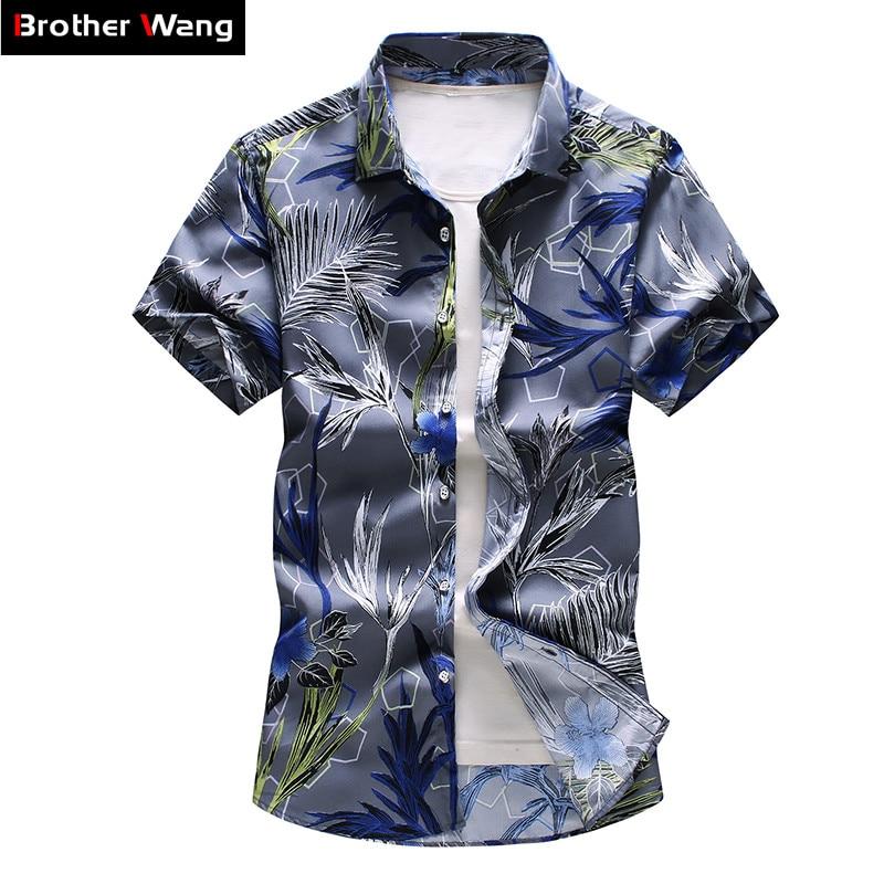 16 Color Men's Floral Shirt 2020 Summer New Fashion Casual Hawaii Printing Short Sleeve Shirt Male Brand Plus Size 5XL 6XL 7XL