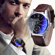 Fashion Faux Leather Mens Analog Quarts Watches Blue Ray Men Wrist