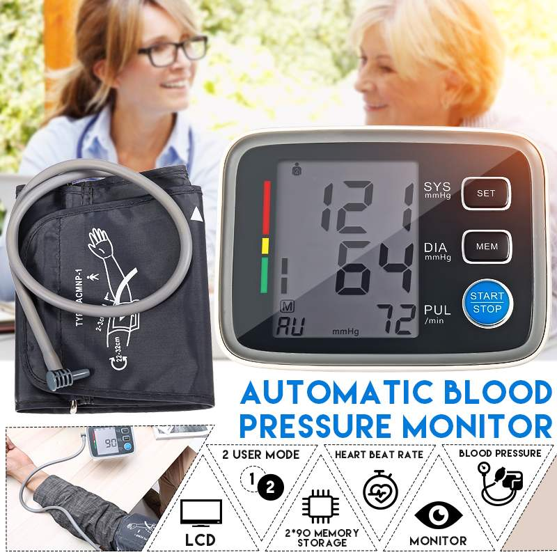 Digitale Oberen Arm Tonometer Blutdruckmessgerät LCD Bildschirm Automatische Herz Schlagen Meter Maschine Messung Werkzeug
