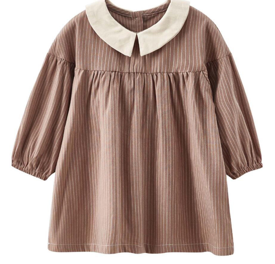 Long Sleeve Autumn Kids Dress Loose Long Top Vintage Dresses Girls Clothing Wear