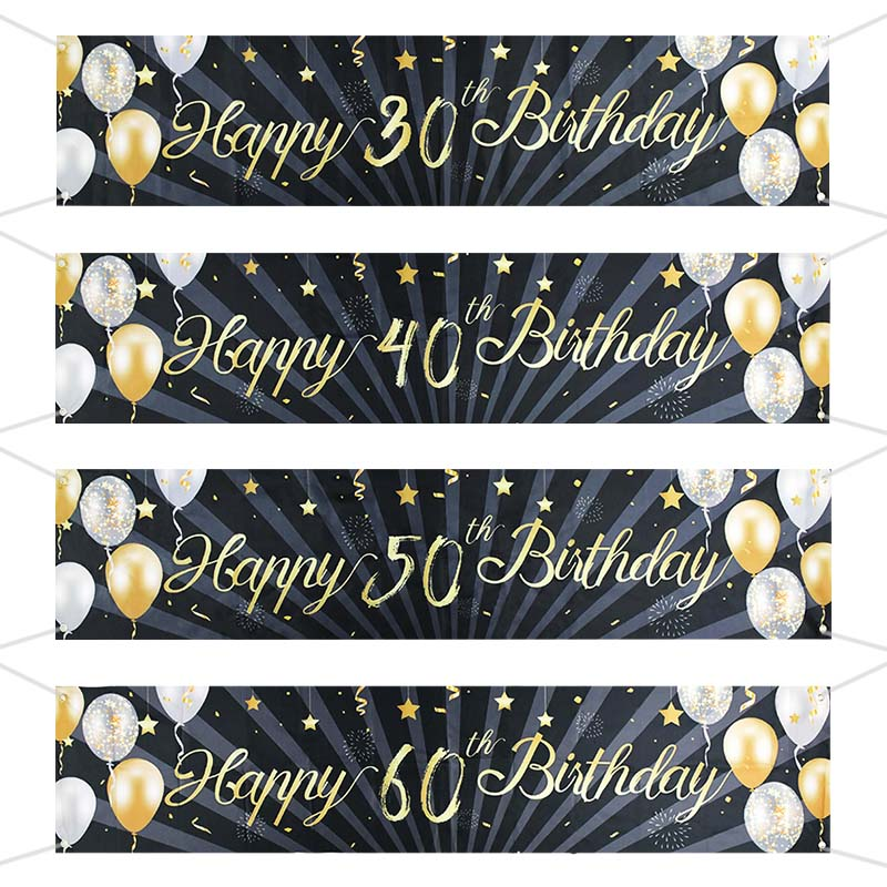 30 40 50 60 Years Old Birthday Backdrop Decor Happy 30th Birthday Banner Garland For Adult Black Gold Party Supplies Photo Props