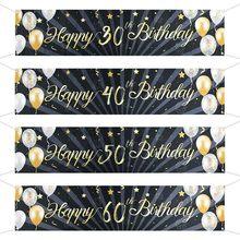 Guirlande de banderole pour décor de décor de décor d'anniversaire, pour adultes de 30, 40, 50, 60 ans, couleur or noir, fournitures de fête, accessoires Photo