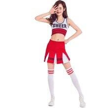 Hot Sale Tank top cheerleader 2 piece suit new red costume S-XXL dodgers jersey american football cheerleader skirt