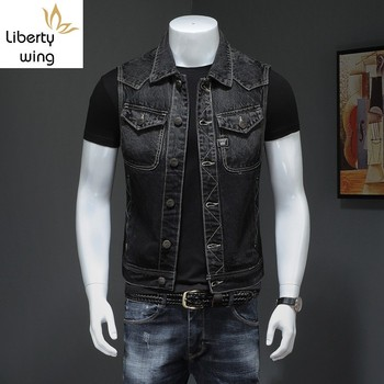 Motorcycle Black Men Denim Vest Vintage Sleeveless Biker Jean Jacket Single Breasted Fashion Work Vests Male With Many Pockets