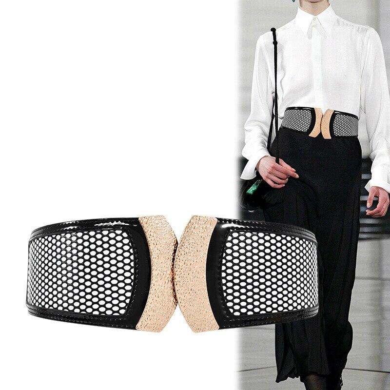 H3493 Women Wide Waist Belt Genuine Leather Elastic Top Grade Fashion Waistband Female Korean Vintage High Quality Accessories
