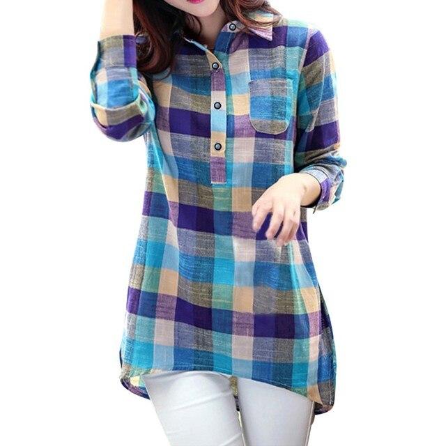 #  Women's Autumn Blouse Casual Matching Color Long Sleeve Button Loose Plaid Shirt Blouse Top Woman Summer 2021 Female Blusas 1