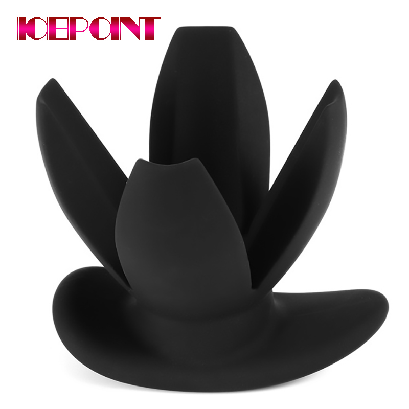 Men Women Silicone Anal Dilator Hollow Petal Tunnel Butt Plug Anal Expander Vaginal Speculum Expansion Sounding Anal Sex Toys