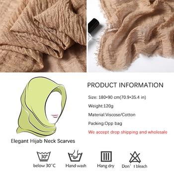 2020 cotton Scarf Crinkle Women Soft Solid muslim Hijabs Muffler Shawls Pashmina Wrap Hijab Scarves Headscarf Turban shawls wrap 4
