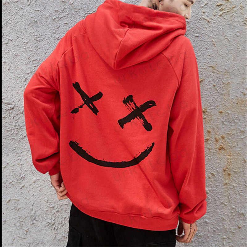ขายร้อนแฟชั่น PLUS ขนาด 3XL Hip Hop Street Wear Men Hooded Hoodies SMILE พิมพ์เสื้อ Hoodie เสื้อผ้า