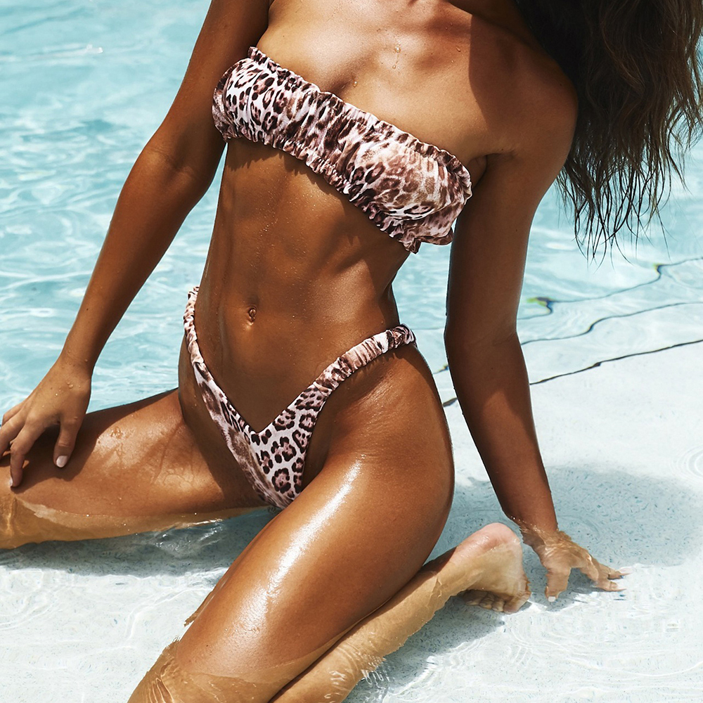 OMKAGI Bandeau Swimsuit Female Sexy Solid Leopard Swimwear Women Swimsuit High Cut Bikini Bathing Suit Biquinis Bikini 2020 5