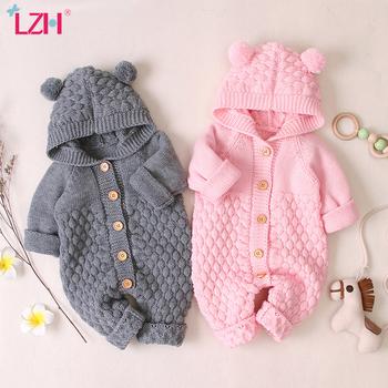 LZH Baby Knit pajacyki dla chłopców kombinezon jesień zima noworodka dziewczynek ubrania dla dzieci kombinezony z kapturem dla niemowląt odzież tanie i dobre opinie COTTON Poliester Włókno bambusowe CN (pochodzenie) Unisex W wieku 0-6m 7-12m 13-24m Stałe Pojedyncze piersi Pełna baby clothes