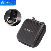Bolsa para auriculares ORICO, estuche rígido para auriculares portátil, caja de almacenamiento para tarjeta de memoria, organizador de Cable USB, Mini bolsa para auriculares, negro