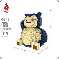CHAKRA 6609 Snorlax Bear 3D Model 1880pcs DIY Micro Diamond Mini Building Small Blocks Bricks Assembly Toy no Box