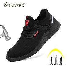 SUADEEX Steel Toe Work Shoes Puncture Proof Safety For Men Anti-Smashing Indestructible Boots Sneakers