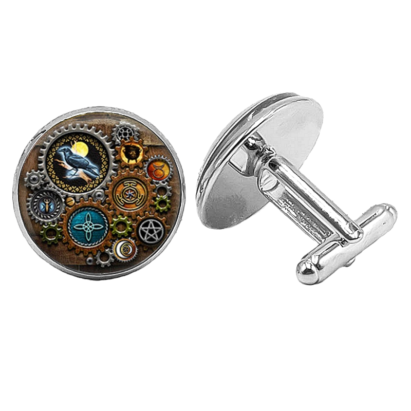Hot! 2019 Super New Woodpecker Steampunk Badge Cufflinks Glass Cabochon Silver Mens Gift Jewelry