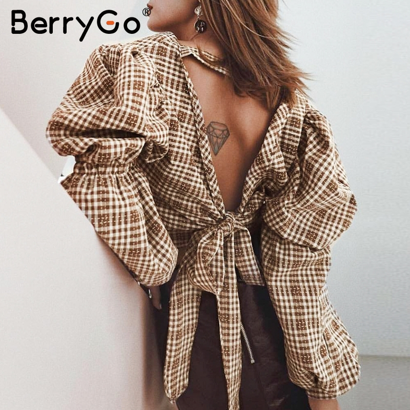 BerryGo Vintage Plaid Women Blouse Shirt Sexy Backless Lace Up Female Top Shirt Autumn Puff Sleeve Oversize Ladies Blouses Retro