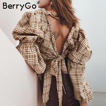 BerryGo Vintage plaid women blouse shirt Sexy backless lace up female top shirt Autumn puff sleeve oversize ladies blouses retro(China)