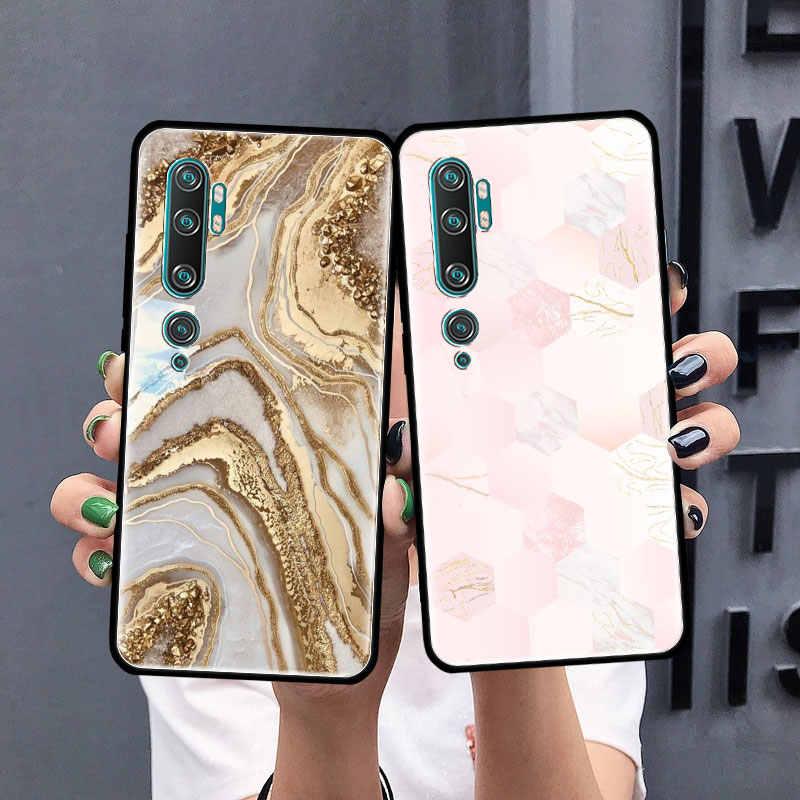 Hồng Hoa Hồng Vàng Đá Cẩm Thạch Ốp Lưng Dành Cho Xiaomi Mi Note 10 9 CC9 9T Pro 5G CC9E 8 A3 a2 Lite X2 F1 Đen Túi Mềm Bao Bọc Điện Thoại