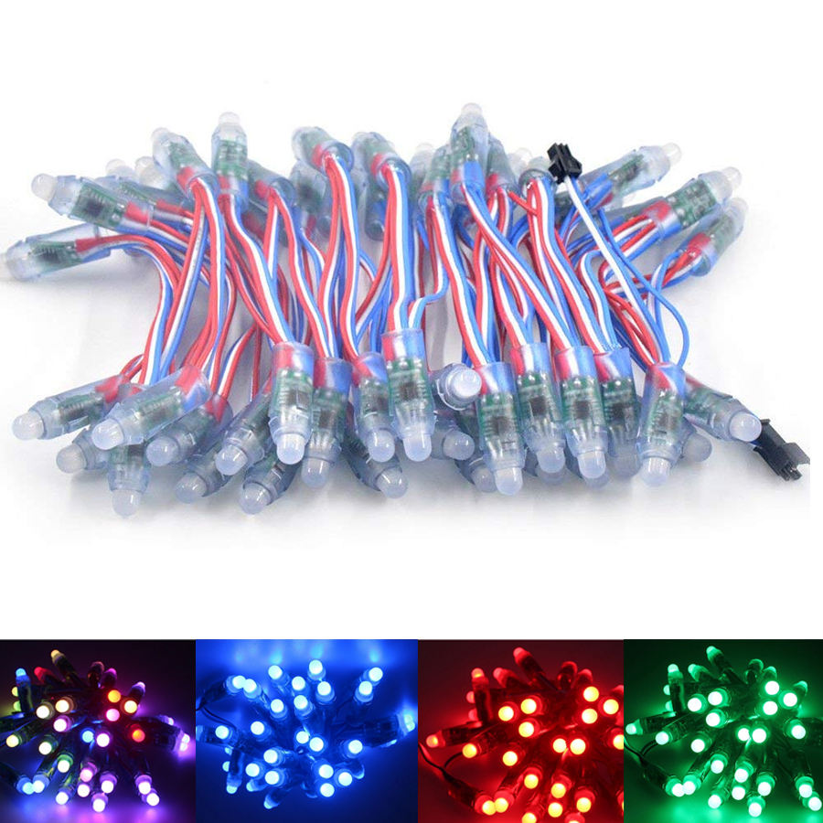 50x WS2811 12mm Diffused Digital RGB LED Pixel String Light 5V 12V DC Black Wire