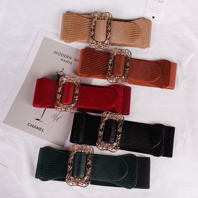 Metal Carved Gold Clasp Wide Belt Girl European And American Fashion Plaid Green Elastic Waist Seals