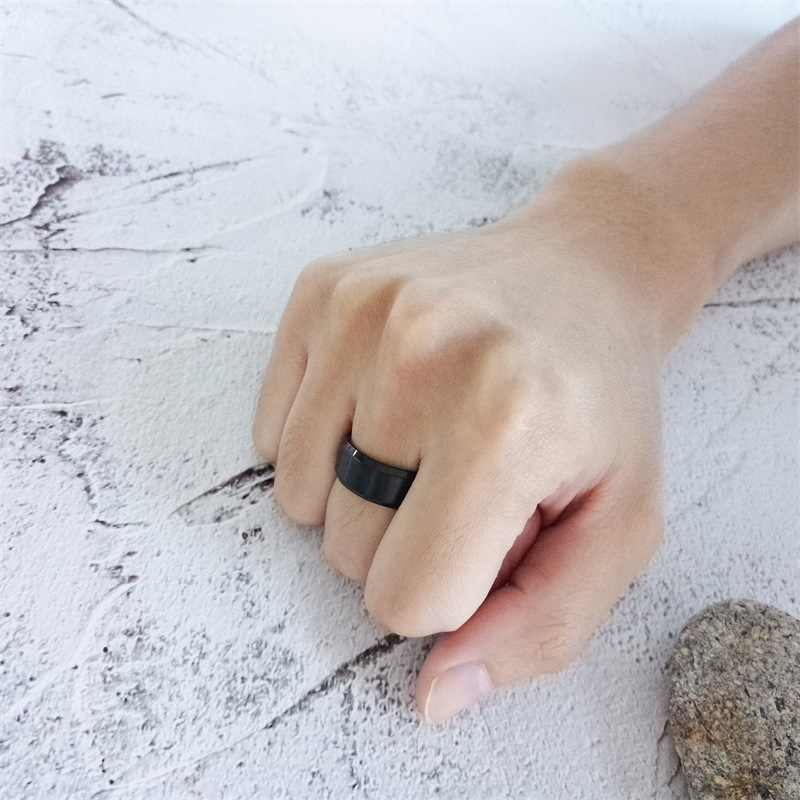JHSL פשוט 8mm 316L נירוסטה זכר גברים טבעות כחול שחור זהב צבע תכשיטים גודל 5 6 7 8 9 10 11 12 13 14