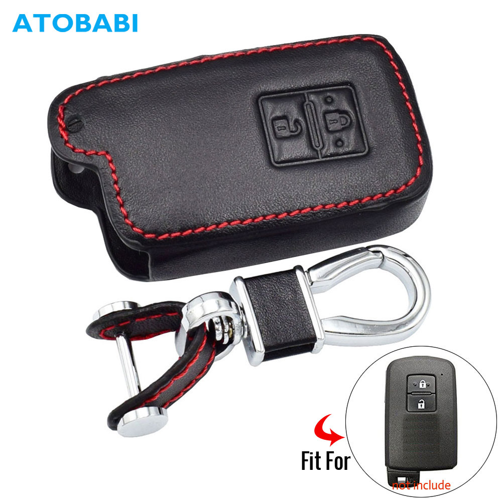 Leather Car Key Case For Toyota Auris Camry RAV4 Avalon Yaris Verso 2012-2018 2 Buttons Keyless Remote Fob Protector Cover Bag