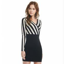 Осеннее Полосатое платье пуловер с длинным рукавом v образным