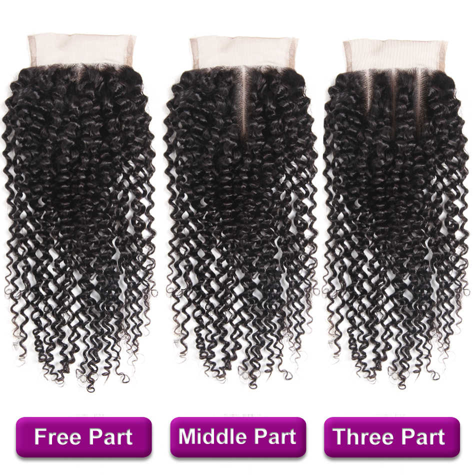 Racily Hair Natural Peruvian Kinky Curly Hair Weave Bundles With Closure 3/4 Bundles With Lace Closure Remy Human Hair Extension