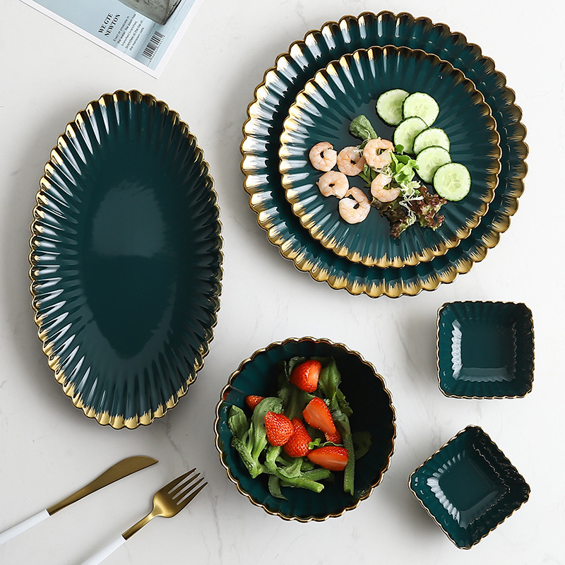 Gold Rim Dinner Set and Ceramic Dish Set as Tableware for Serving Food at Home and Restaurant