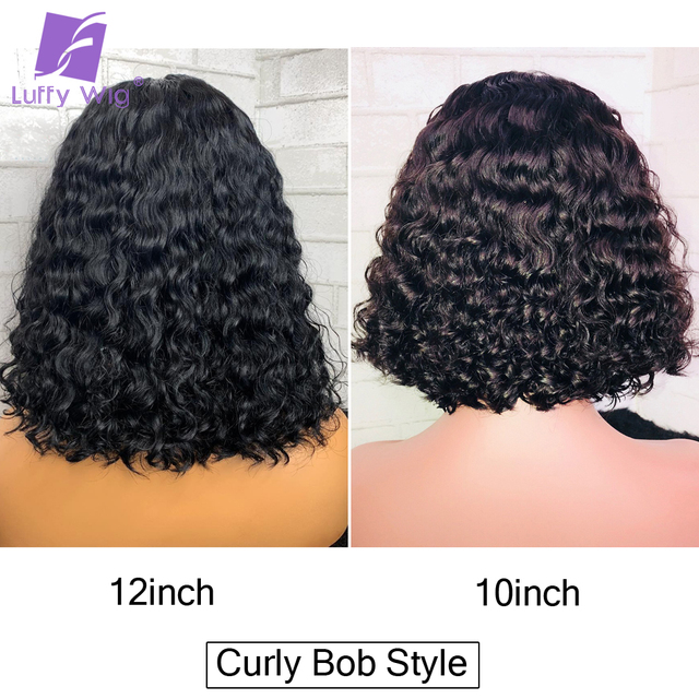 Short Curly 5x4.5 Silk Base Lace Front Wig PrePlucked Bob Human Hair Wigs 13x6 Deep Remy Brazilian With Baby Hair Glueless LUFFY 4