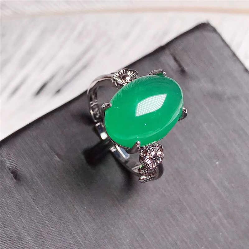 Jadery แหวนเงิน 925 ผู้หญิง VINTAGE สีเขียวหยกหินอัญมณีแหวนเงินสเตอร์ลิงเครื่องประดับ Charms คริสต์มาสของขวัญ 2019