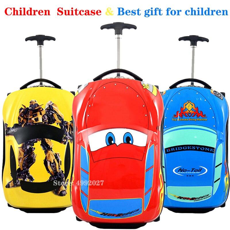 3D ילדים מזוודת רכב נסיעות מטען נסיעות עגלת מזוודת עבור בני גלגליים מזוודה לילדים מתגלגל מזוודות מזוודה